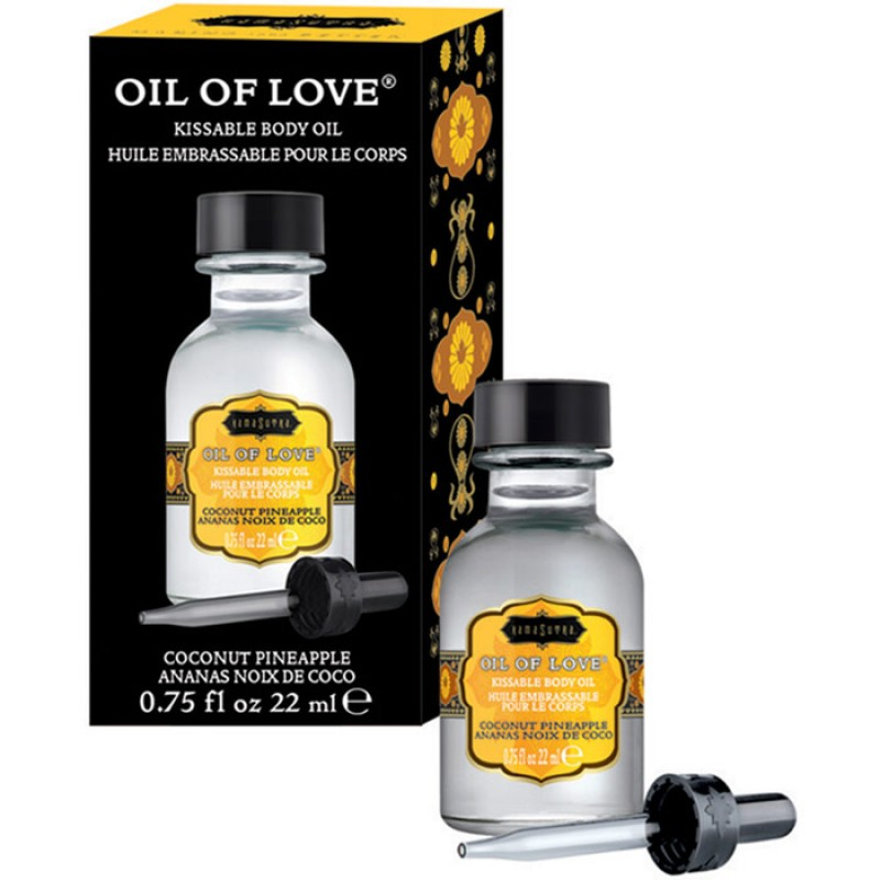 Kama Sutra Oil Of Love  Warming Kissable Massage Oil - Coconut Pineapple 0.75 oz (22 ml)