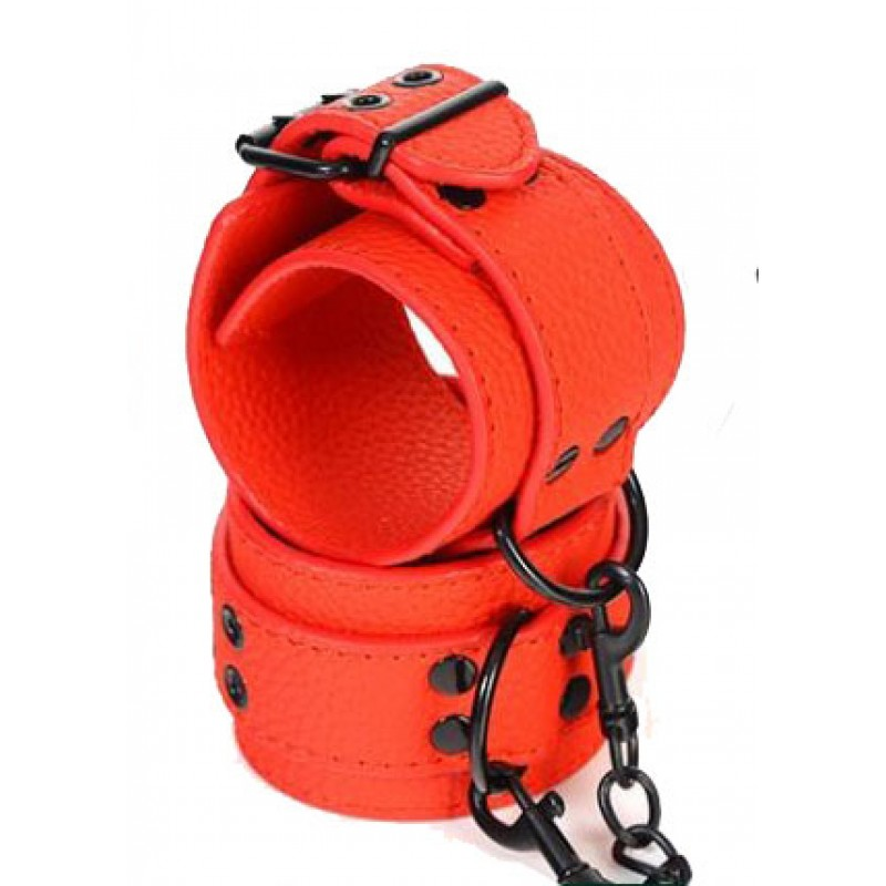 Faux Leather Handcuffs - Red