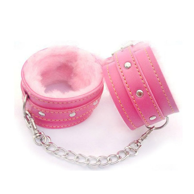 Pink Fluffy Faux Leather Handcuffs