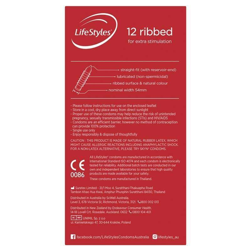 Ansell Lifestyles Ribbed Condoms 12 Pack