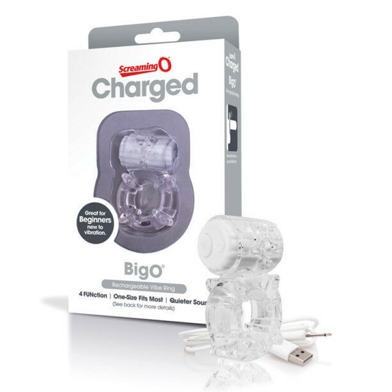 Charged Big O by The Screaming O USB Rechargeable Vibe Ring - Clear