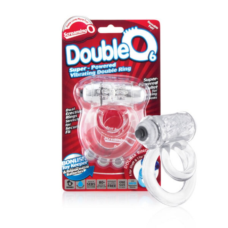 Screaming O DoubleO 6 Vibrating Cock Ring Erection Enhancer - Clear