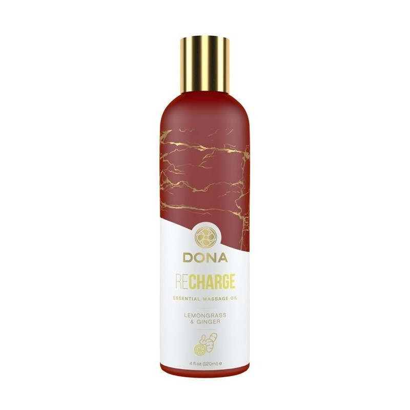 Dona Essential Massage Oil - Recharge - Lemongrass and Ginger 120ml