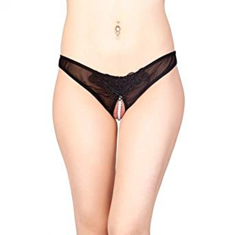 Lace and Mesh Pearl Crotchless Panty X-UN-LNP