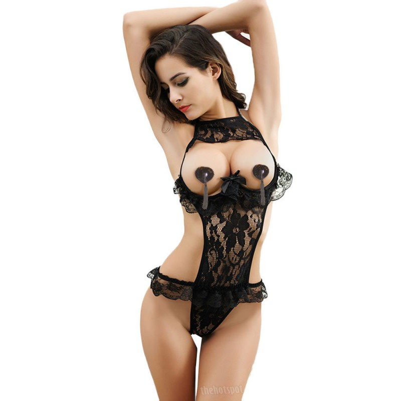 Sexy Lace Exposed Breasts Erotic Transparent Lingerie Teddy (XLIR-02)