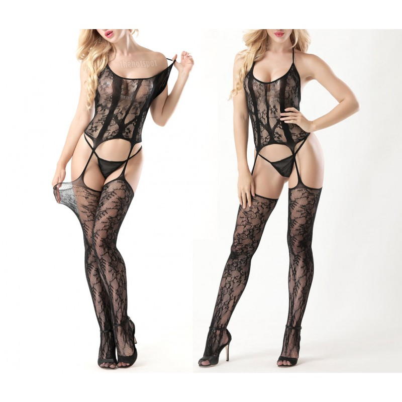 Sexy Super Stretchy Fishnet Lingerie Plus Size Mesh Erotic (XLIR-04-B)