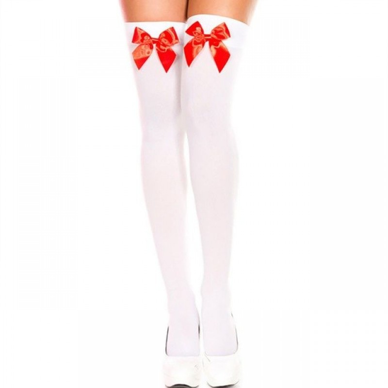Sexy Stockings White / Red Bow Stretch Thigh High Over The Knee (XLIR-17)