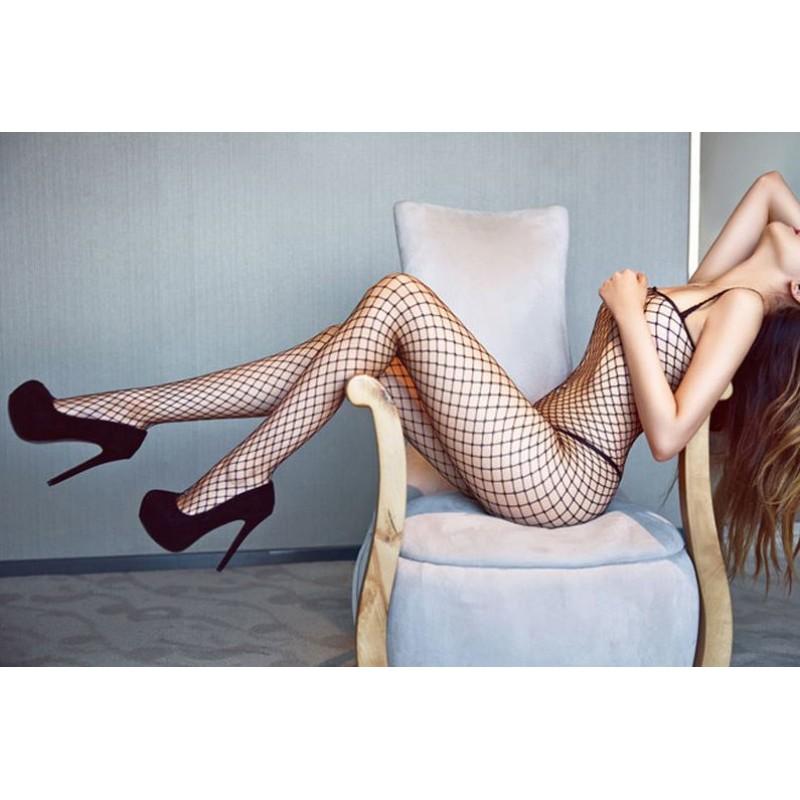 Sexy Fishnet Body Stocking Lingerie Plus Size Mesh Erotic Bodysuit Open Crotch