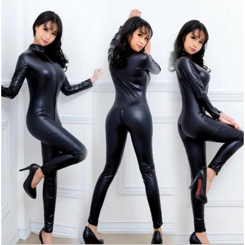 Faux Leather Skin Tight Bodysuit (XLIR-22)