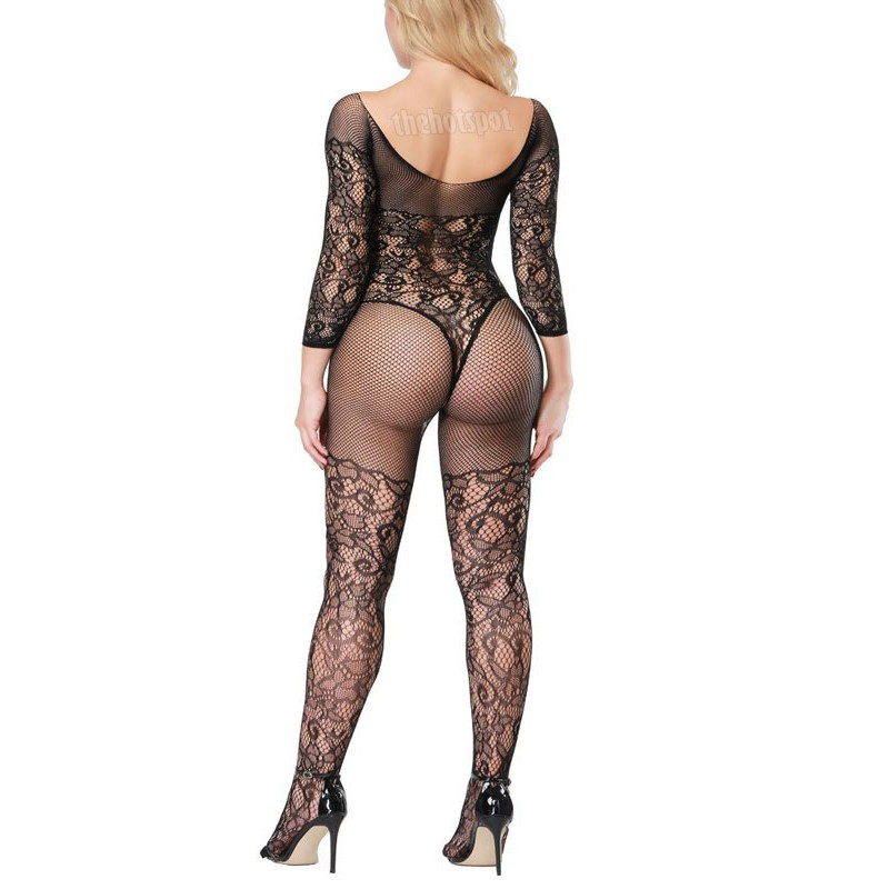 Sexy Body Stocking Lingerie Plus Size Fishnet Mesh Erotic Bodysuit Open Crotch