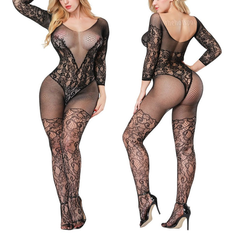 Sexy Body Stocking Lingerie Plus Size Fishnet Mesh Erotic Bodysuit Open Crotch