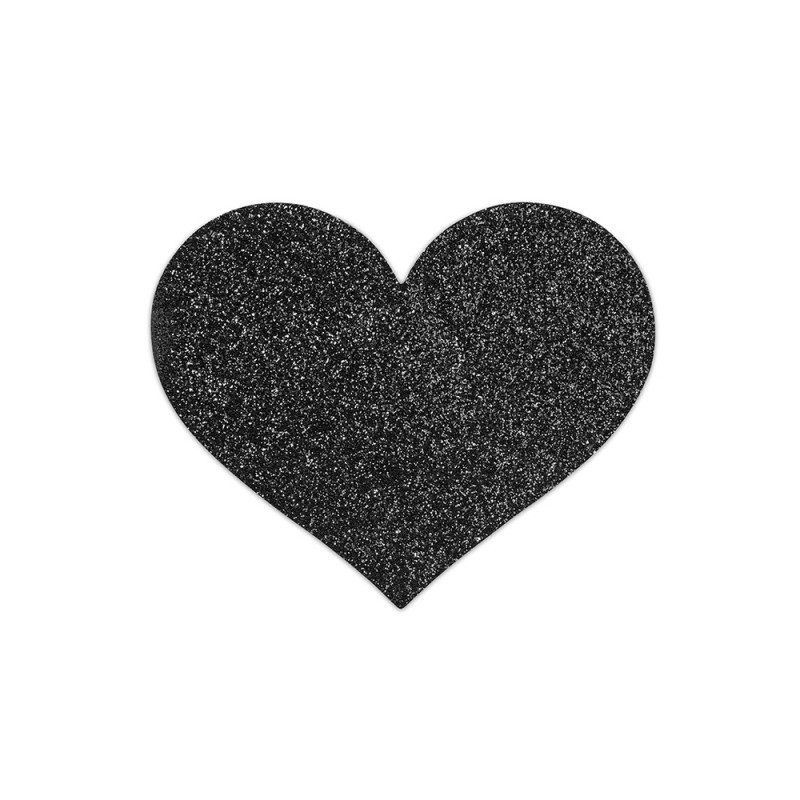 Bijoux Indiscrets Flash Heart Glitter Pasties Skin Jewelry Reusable Nipple Cover - Black