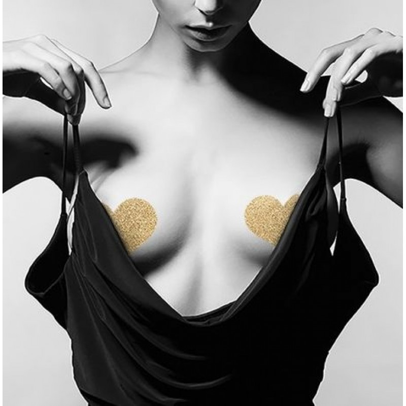 Bijoux Indiscrets Flash Heart Glitter Pasties Skin Jewelry Reusable Nipple Cover - Gold