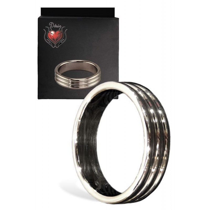 Stainless Steel Cock Ring with Decorative Ridges - 50mm