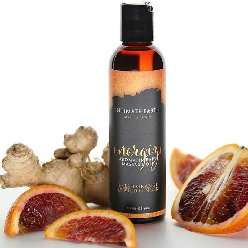 Intimate Earth Energize Aromatherapy Massage Oil 120ml - Fresh Orange & Wild Ginger