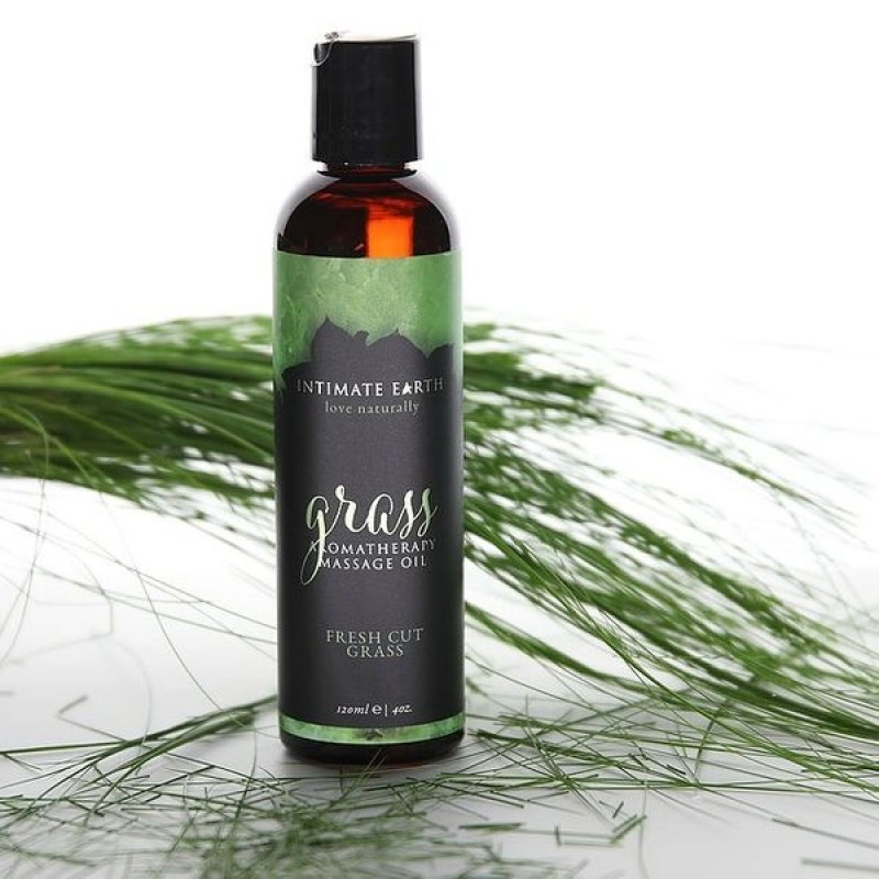 Intimate Earth Grass Aromatherapy Massage Oil 120ml - Fresh Cut Grass