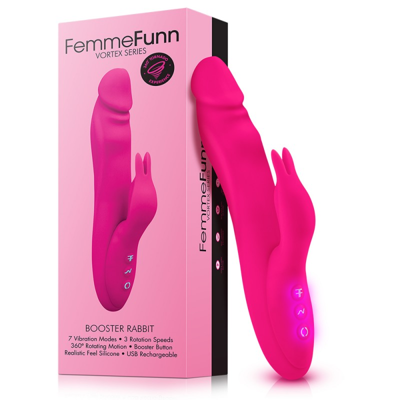Femme Funn Booster Rabbit Wand Silicone Vibrator Pink