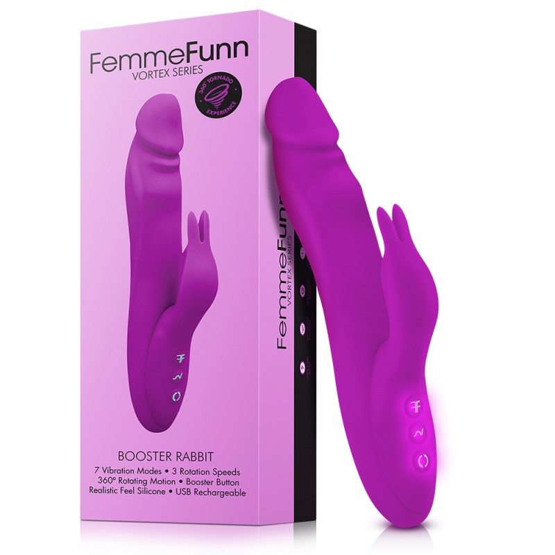 Femme Funn Booster Rabbit Wand Silicone Vibrator Purple