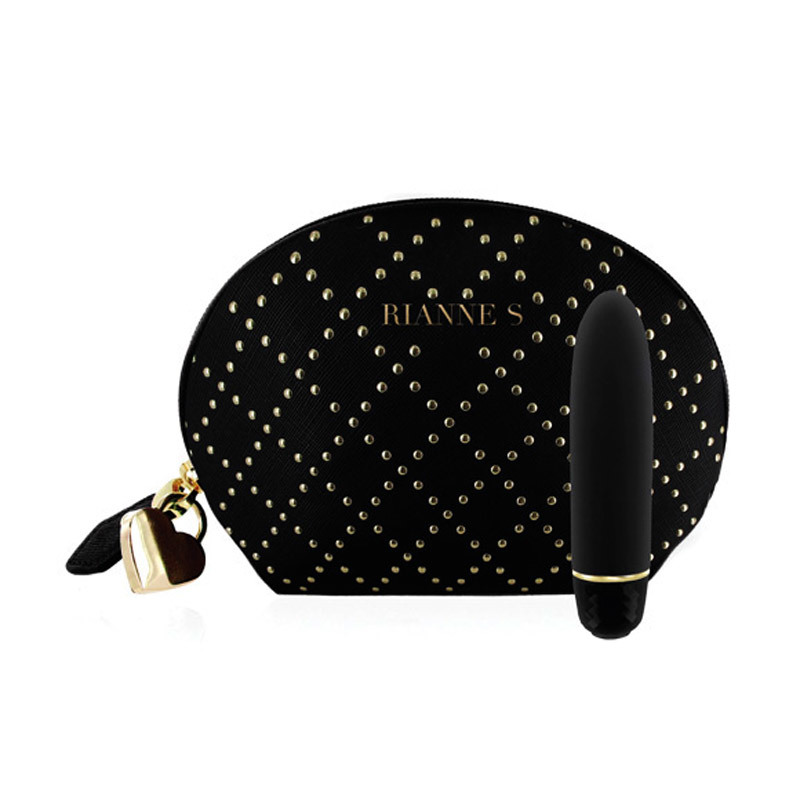 Classique Silicone Vibrator With Black Studded Bag - Black