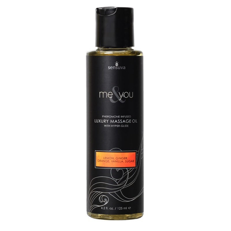 Sensuva Me & You Pheromone Infused Luxury Massage Oil 4.2 oz - Lemon, Ginger, Orange, Vanilla, Sugar