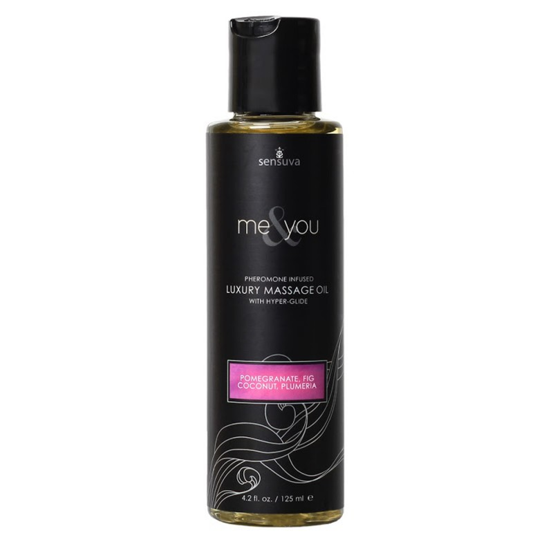 Sensuva Me & You Pheromone Infused Luxury Massage Oil 4.2 oz - Pomegranate, Fig, Coconut, Plumeria