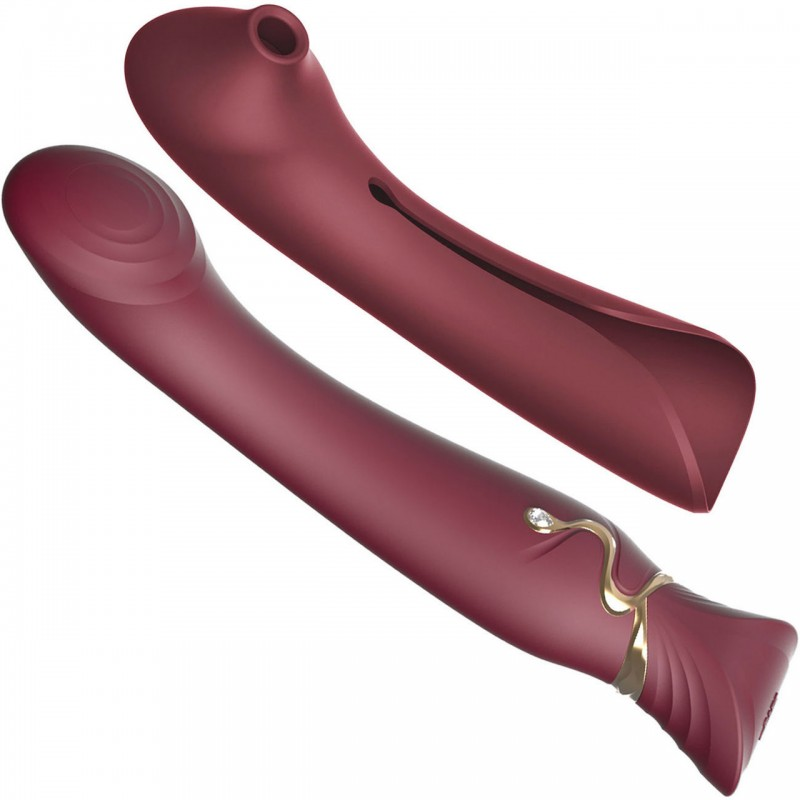Zalo Queen Set G-Spot Stimulator with Suction Sleeve - Wine Red