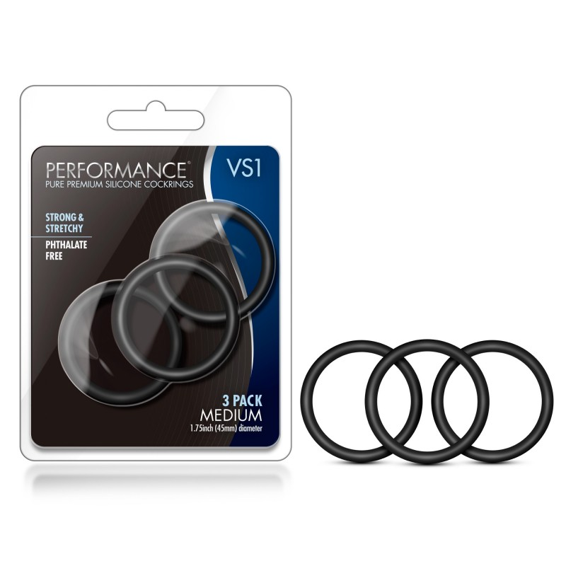 Performance VS1 Medium Silicone Cock Rings - Black