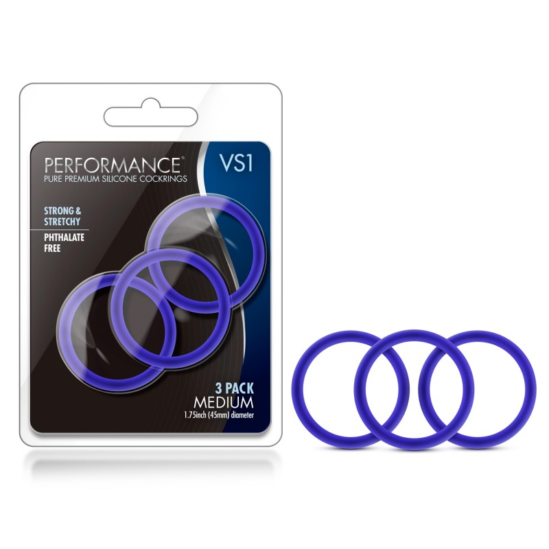 Performance VS1 Medium Silicone Cock Rings - Blue