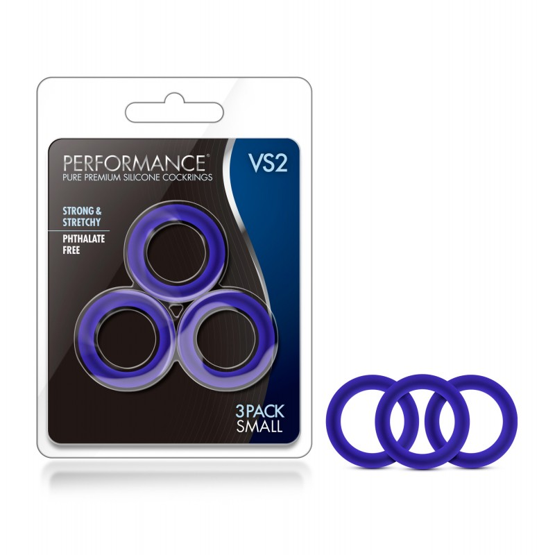 Performance VS2 Small Silicone Cock Rings - Blue