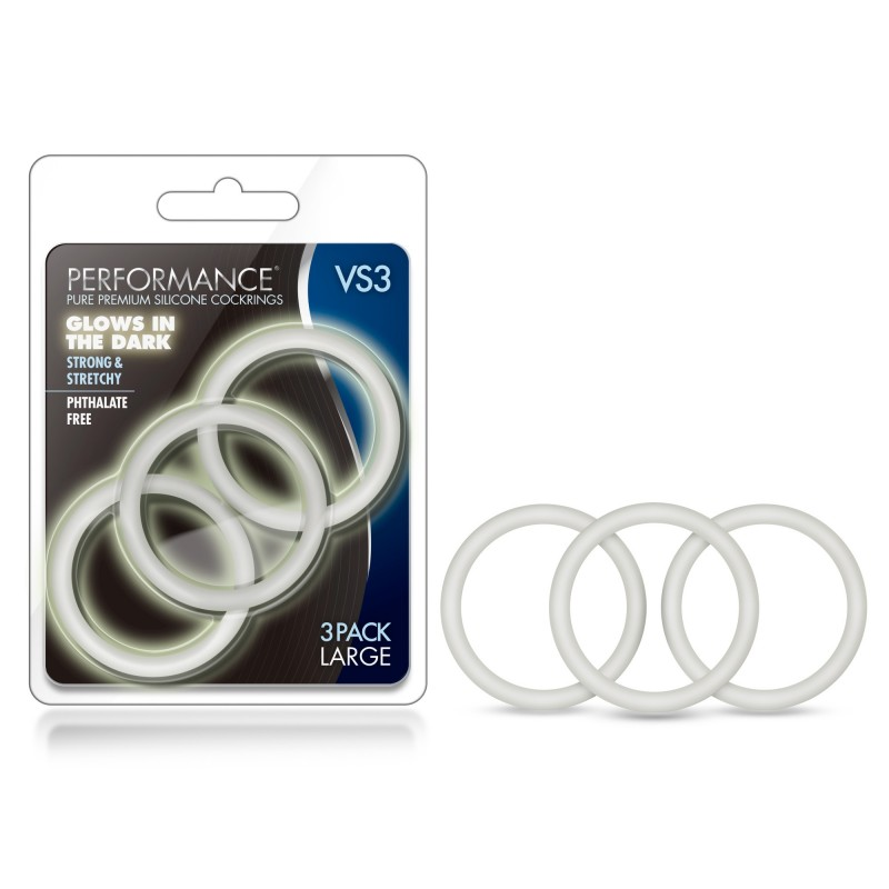 Performance VS3 Large Silicone Cock Rings - White (Glow-in-the-Dark)