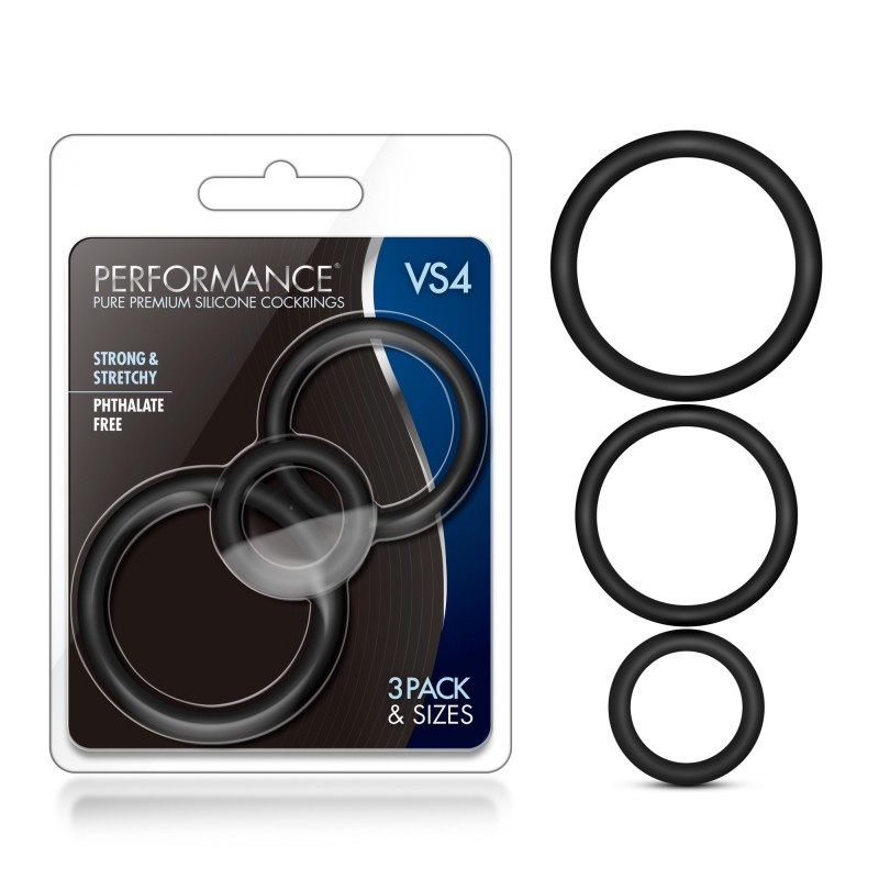Performance VS4 Pure Premium Silicone Cock Rings - Black