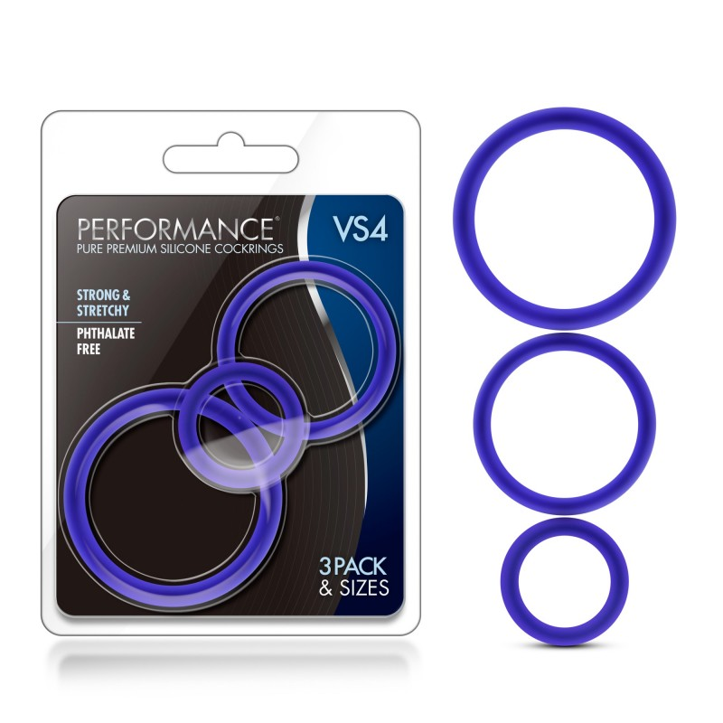 Performance VS4 Pure Premium Silicone Cock Rings - Blue