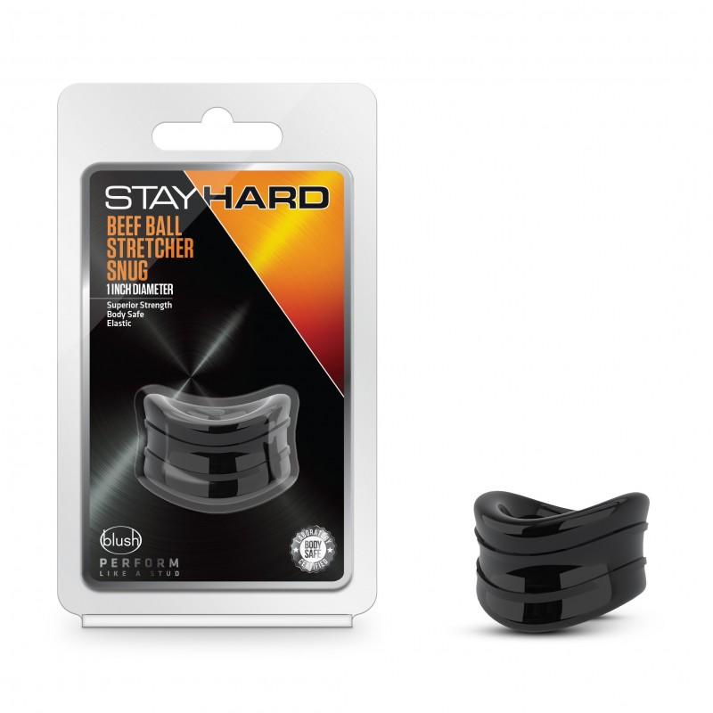 Stay Hard Beef Ball Stretcher - 1 Inch Black