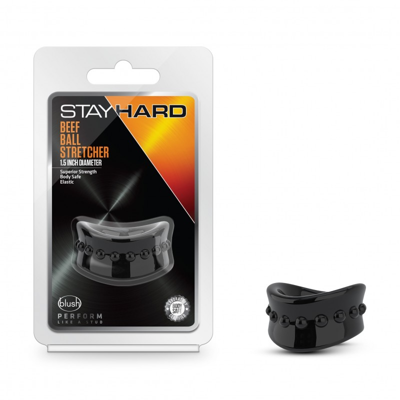 Stay Hard Beef Ball Stretcher - 1.5 Inch Black