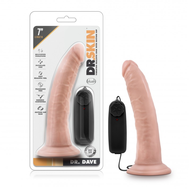 Dr. Skin - Dr. Dave - 7 Inch Vibrating Cock With Suction Cup - Flesh
