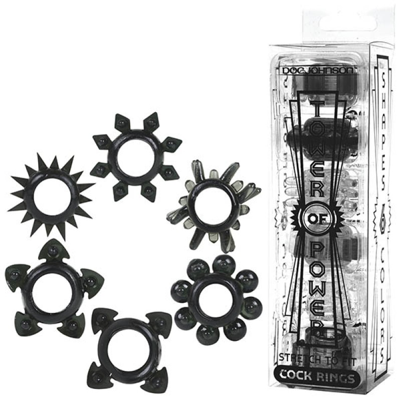 Tower of Power Black Cock Rings 6-Pack