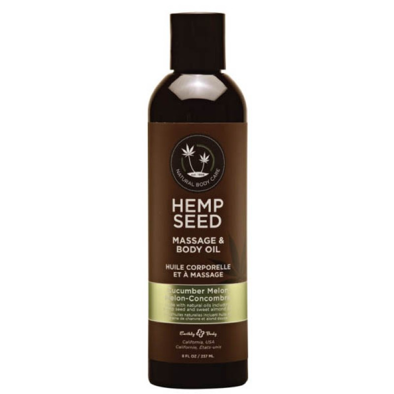 Hemp Seed Massage & Body Oil 237 ml Bottle - Cucumber Melon
