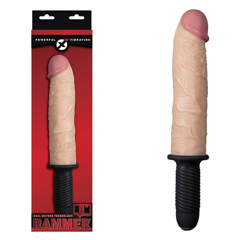 Rammer 9-inch Vibrating Dong With Handle - Flesh