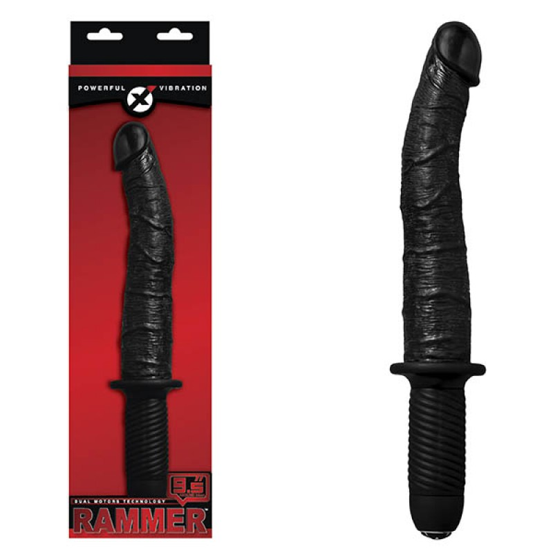 Rammer 9.5-inch Vibrating Dong With Handle - Black
