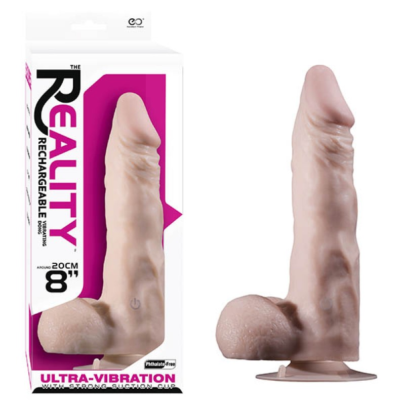 Reality Rechargeable Vibrating 8'' Dong - Flesh