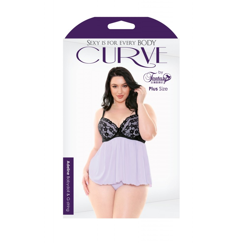 Fantasy Lingerie Curve Adeline Babydoll & G-String - Lilac Purple 3X/4X