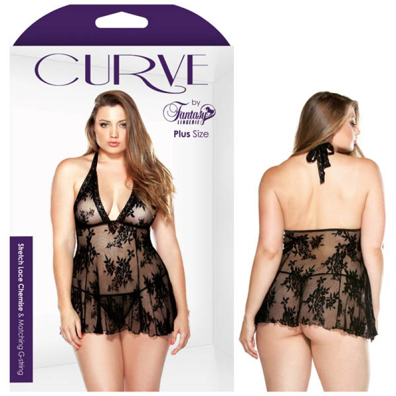 Fantasy Lingerie Curve Claudia Stretch Lace Chemise & Matching G-string 1X/2X