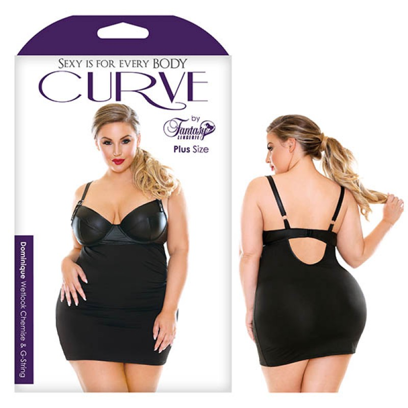 Fantasy Lingerie Curve Dominique Wetlook Chemise & G-String 1X/2X