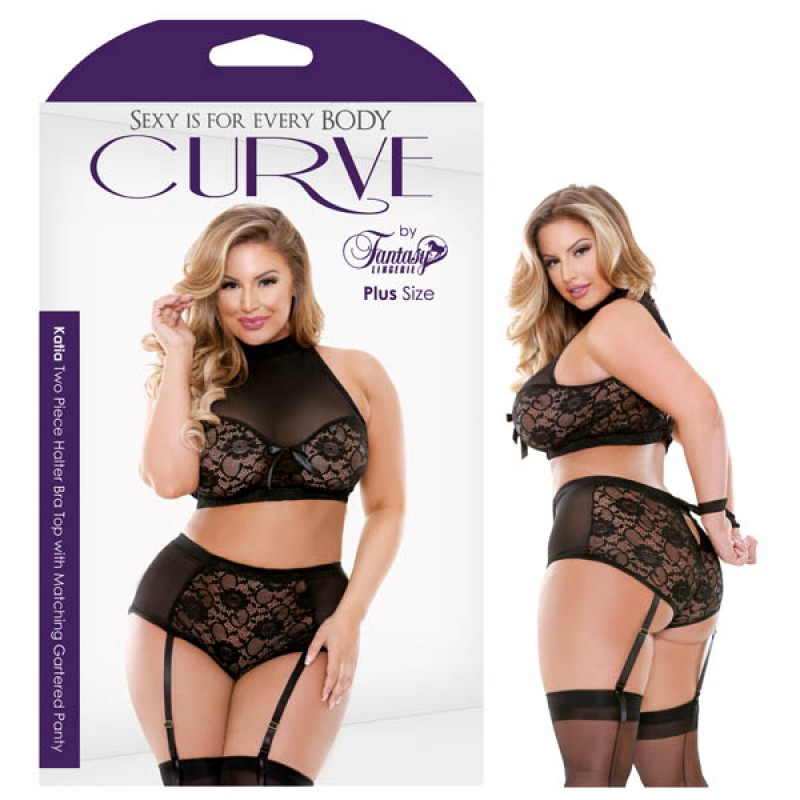 Fantasy Lingerie Curve Katia Two Piece Halter Bra Top with Matching Gartered Panty 1X/2X