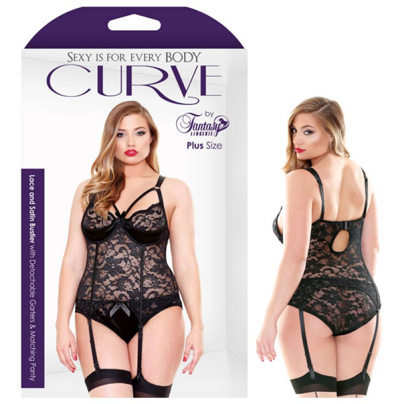 Fantasy Lingerie Curve Lace and Satin Bustier With Detachable Garters & Panty 1X/2X