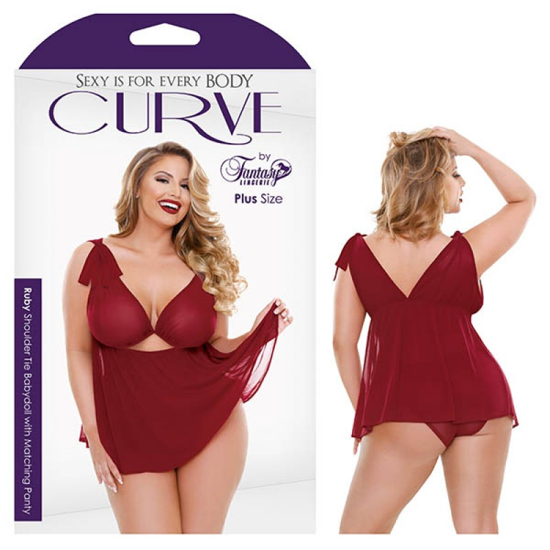 Fantasy Lingerie Curve Ruby Shoulder Tie Babydoll with Matching Panty 1X/2X