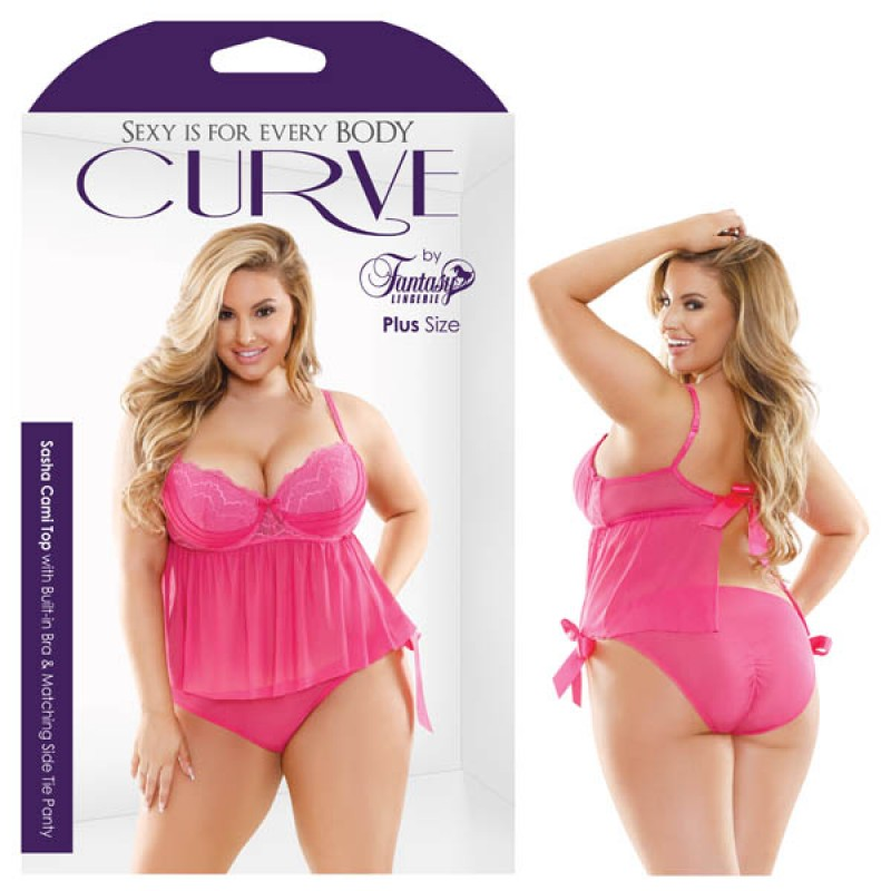 Fantasy Lingerie Curve Sasha Cami Top With Built-In Bra & Matching Side Tie Panty 1X/2X