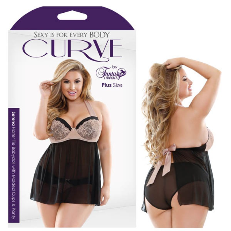 Fantasy Lingerie Curve Serena Halter Tie Babydoll with Molded Cups & Panty 1X/2X