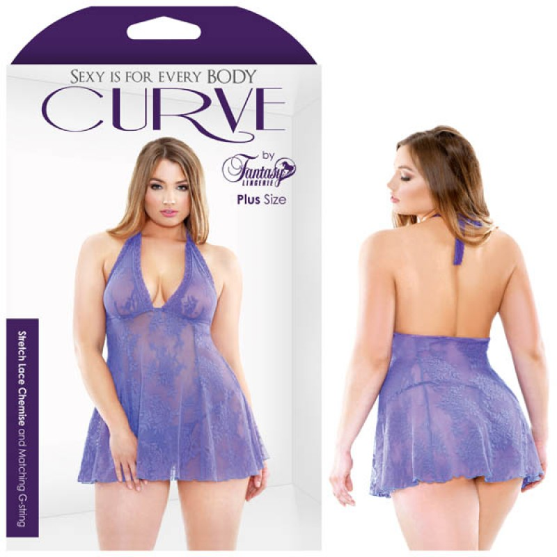Fantasy Lingerie Curve Viola Stretch Lace Chemise & Matching G-string 1X/2X