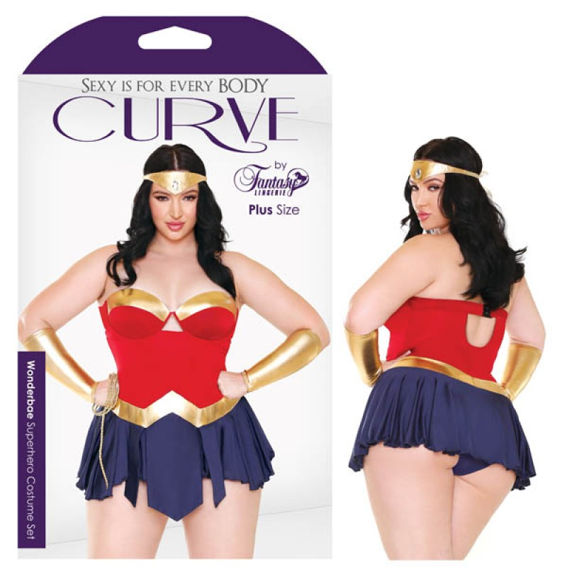 Fantasy Lingerie Curve Wonderbae Superhero Costume Set 1X/2X